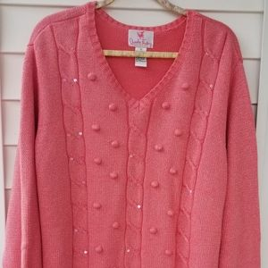 Quacker Factory Coral Pink Shiny Sweater 3X